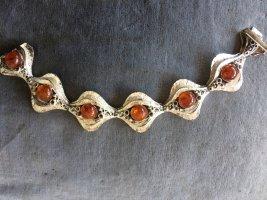 Dänische designer Silber Armband mit Bernstein, Amber, Silber 925, Modernist, 70er Jahre