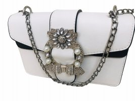 Damen Abend Tasche schwarz weiß Perlen Crystal Brosche 21x14x9