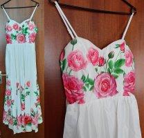 Damen Abendkleid Ballkleid Sommerkleid Kleid NP 49,90 Satin Rosen Blumen