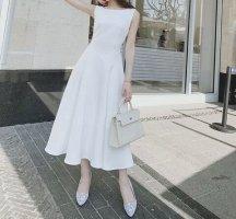 Damen ärmellos Elegant klassisch Midikleid Leichtes Brautkleid weiß Gr.XS 34