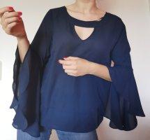 Damen Bluse langarm marineblau Fledermausärmel vintage