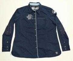 Damen Bluse von B.C. Gr. 46 / L TOP Zustand Navi Marineblau B. C. BC Oberteil Tunika Shirt Best Connections