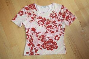 Damen Comma T-Shirt / Shirt / Gr. 40 / L / rot, beige, weiss, rosa / mit Blumenmuster (geblümt)