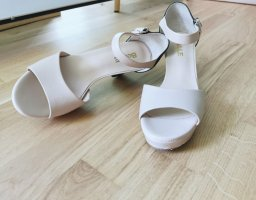 Damen elegant klassik hoch Absatz Leder Sandale in Gr.36 Beige und Schwarz