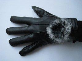 Guantes con dedos negro Imitación de cuero