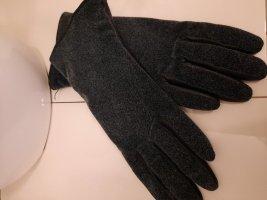 Damen Handschuhe LAIMBÖCK, schwarz/grau, Leder/Fleece, Gr. 7 NEU