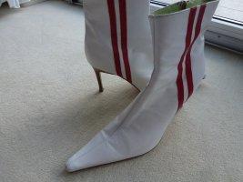 Damen High Heel Stiefelette in weiß mit roten Streifen seitlich Gr. 39