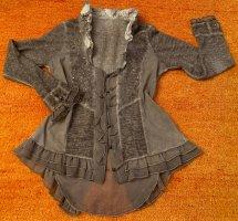 Damen Jacke Fransen Pailletten Lagenlock Gr.38 in Grau verwaschener Optik NW