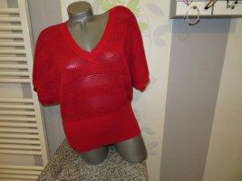 Sweter z krótkim rękawem czerwony Bawełna