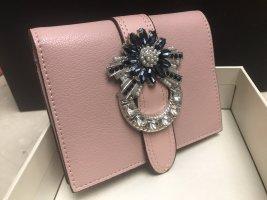 Damen Leder Geldbeutel mit Crystals 11x10cm in Geschenkbox Neu Rosa Weiß Schwarz oder Hellblau