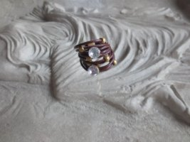 Damen Leder Ring mit Glas Steinen Kristall braun  One Size