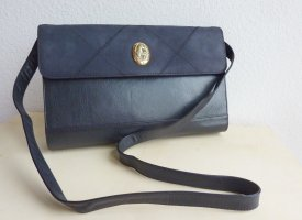 Damen Leder Schultertasche, Marke Valentina, dunkelblau, neu