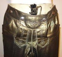 Damen-Lederhose in grünlich-metallic-weichem Kalbsleder, Used-Optik, Gr. 36