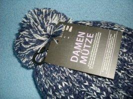 markenlos Sombrero de punto blanco-azul oscuro Acrílico