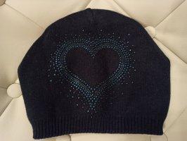 Damen Mütze Strick doppellagig blau Herz Muster Strass