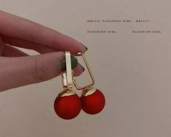 & other stories Gold Earring gold-colored-dark red