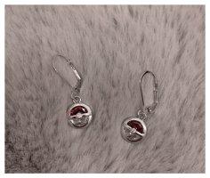 Pendientes colgante color plata-rojo