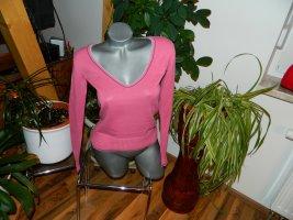 AJC Pull col en V rose-gris coton
