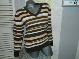 Biaggini Sweter z dekoltem w kształcie litery V brązowy-beżowy Bawełna