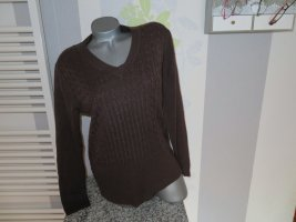 Authentic Cable Sweater brown-dark brown polyacrylic