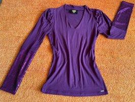 Sarah Kern V-Neck Sweater blue violet-lilac cotton