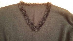 Damen Pullover strick Fransen Pailletten Gr.M in Schwarz NW