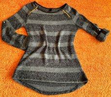 Hailys Długi sweter czarny-szary Poliakryl