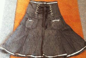 Damen Rock Jeans Gothik GR.S in Schwarz/Grau von ROSA & ROSE