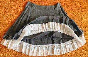 Aust Plaid Skirt grey-white linen