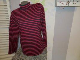 Camisa de cuello de tortuga rojo-azul oscuro