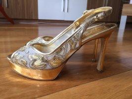Damen Sandalen, Gold farben, Gr.36,5