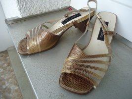 Damen Sandalette goldfarben