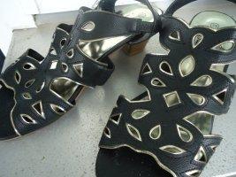 Damen Sandaletten schwarz-gold