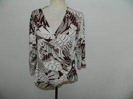 Wallis Wraparound Shirt natural white-brown viscose