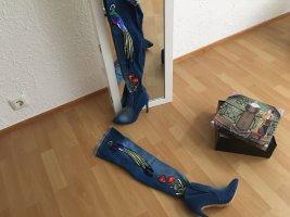 Sergio Todzi Kniehoge laarzen korenblauw