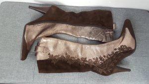 Damen Stiefel Boots made in Italy bronze braun bestickt Größe 37 NEU