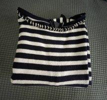 0039 Italy Robe en maille tricotées blanc-bleu foncé