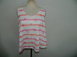 Warehouse Basic topje wit-roze Polyester