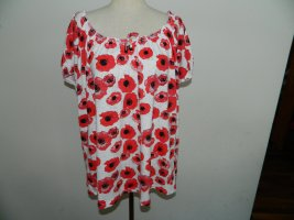 Laura Torelli Shirt Tunic white-red cotton