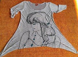 Damen Tunika Shirt Zipfelig Gr.M in Weiß/Blau gestreift von Tantum O.N.