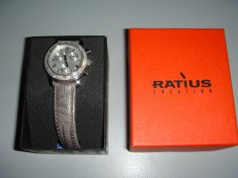 Damen Uhr, Chronograph, Ratius, Kalbslederarmband