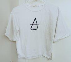 Damen weiß T-Shirt bauchfrei Top mit Logo aus Baumwolle Gr.XS 36