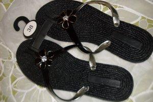 Damen Zehen - Sandalen , Gr : 38  , Farbe : Schwarz ,  Neu ohne Etikett