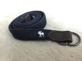 Abercrombie & Fitch Fabric Belt dark blue-white cotton