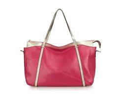 Damenhandtasche Schultertasche Tasche Umhängetasche Leder Shopper Rosa Pink XXL