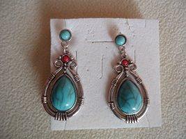 Statement Earrings brick red-neon blue