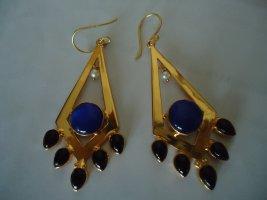 Damenohrringe Messing vergoldet Katzenauge blau