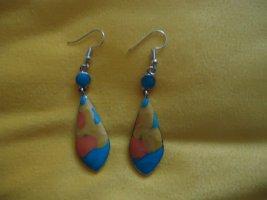 Statement Earrings neon orange-neon blue