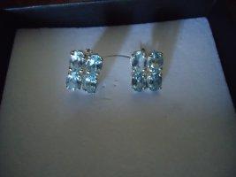 Srebrne kolczyki niebieski neonowy