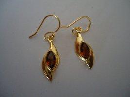 Damenohrringe silber vergoldet Granat